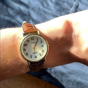 Brown/Gold Alligator band Timex Watch
